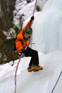 TA descending waterfall ice