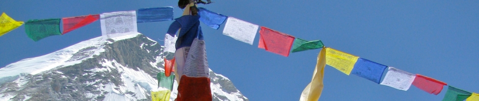 Prager flags, or lung-ta, fly their their blessings and prayers over Mount Everest base camp.