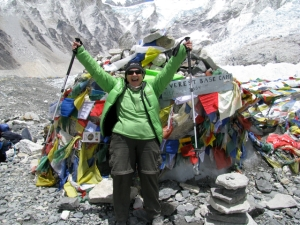 Leslie celebrating her arrival at Everest Base Camp