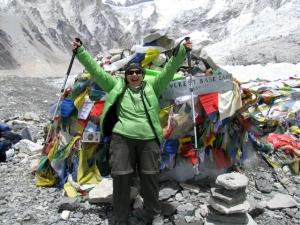 Leslie celebrating her arrival at Everest Base Camp