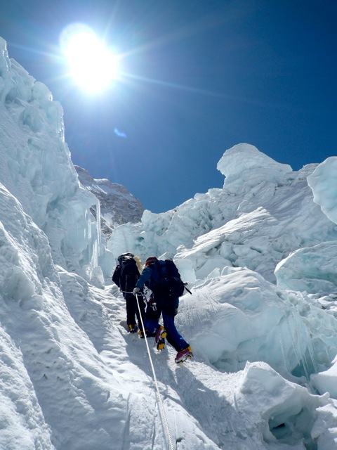 Climbing Through the Khumbu Icefall