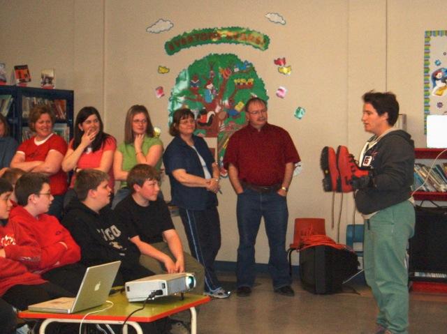 TA presenting at Stella Maris Academy in May 2006