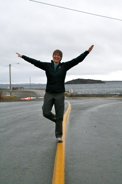 Marian laying it on the line waiting for the Fogo Island Ferry