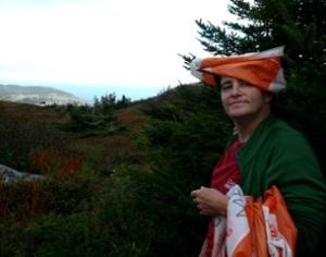 TA wearing an orienteering flag