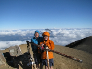 TA, Marian, and Flat Stanley on the Summit of Acatenango (3976 m.)