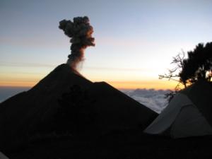 Fuego erupting at sunset