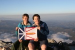 Marian and TA with the Newfoundland Flag on the summit of Tajumulco
