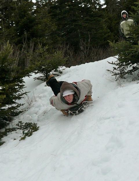 Sliding down hill