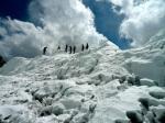 Climbers on edge of ice