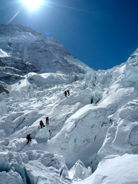 Climbing in the icefall