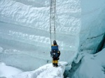 TA facing one last ladder in the Icefall