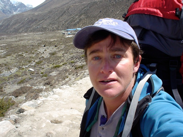 TA trekking down from Pheriche having decided her Everest 1.0 expedition was over