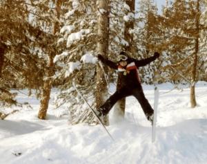TA jumping on skis
