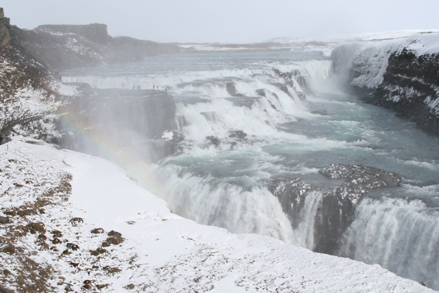 Catching a rainbow in the mist coming off Gullfoss-Iceland's Most Famous Waterfall