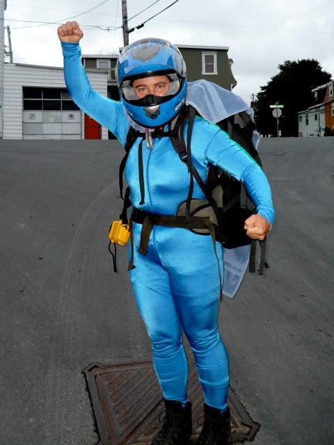 TA as her alter ego the Blue Helmeted Super Hero