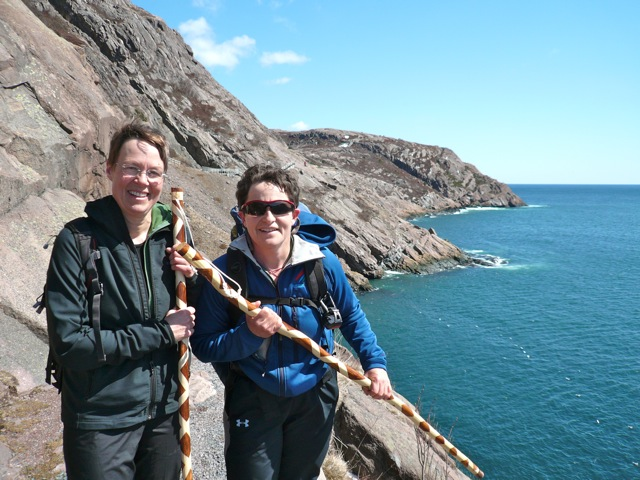 TA and Marian proudly showing off our new walking sticks