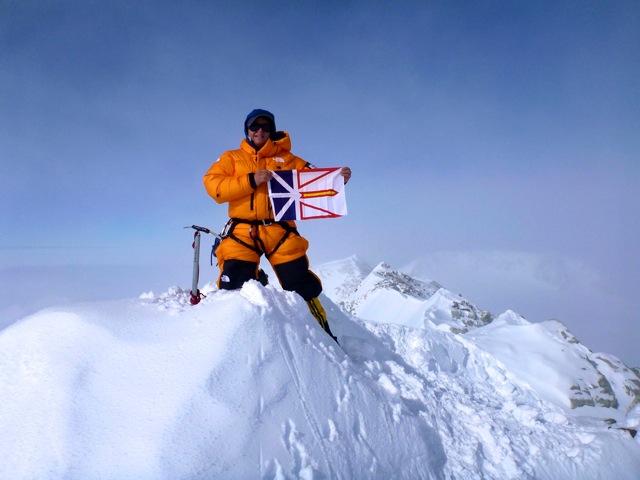 TA on Vinson Summit with Newfoundland Flag