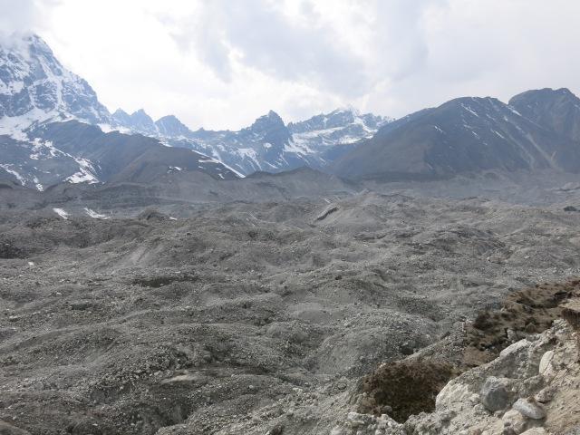 Looking across the Ngozumba glacier to Gokyo Ri