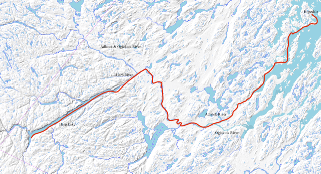 This image shows a map of Labrador zoomed in on Harp Lake and shows our expedition route from Harp Lake to Hopedale.