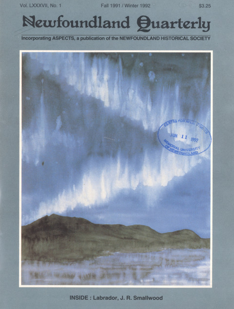 This image is the cover of the Newfoundland Quarterly. It is a watercolour painting of the the Adlatok River with Northern Lights above it. The Northern Lights are depicted as dancing white streaks in a blue sky. The are reflected in the river.
